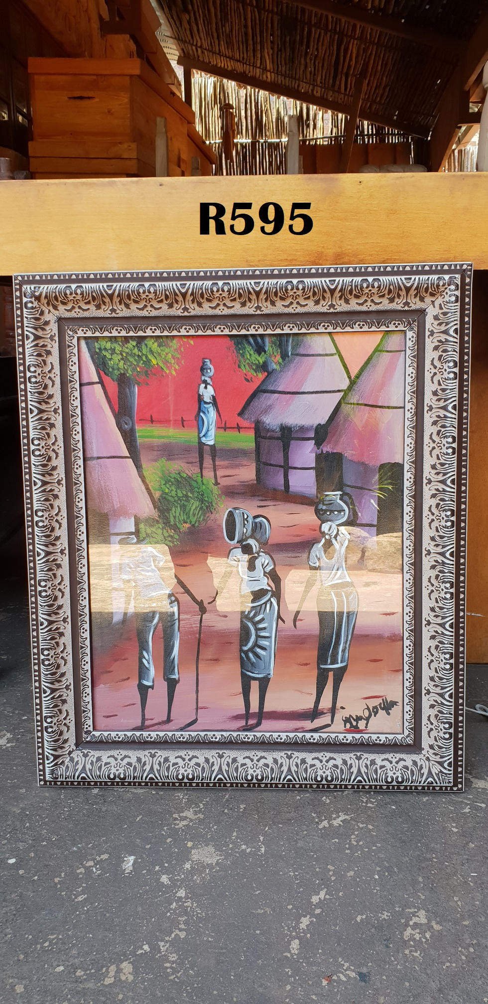 Framed Man with Cane and three Ladies (550x650)