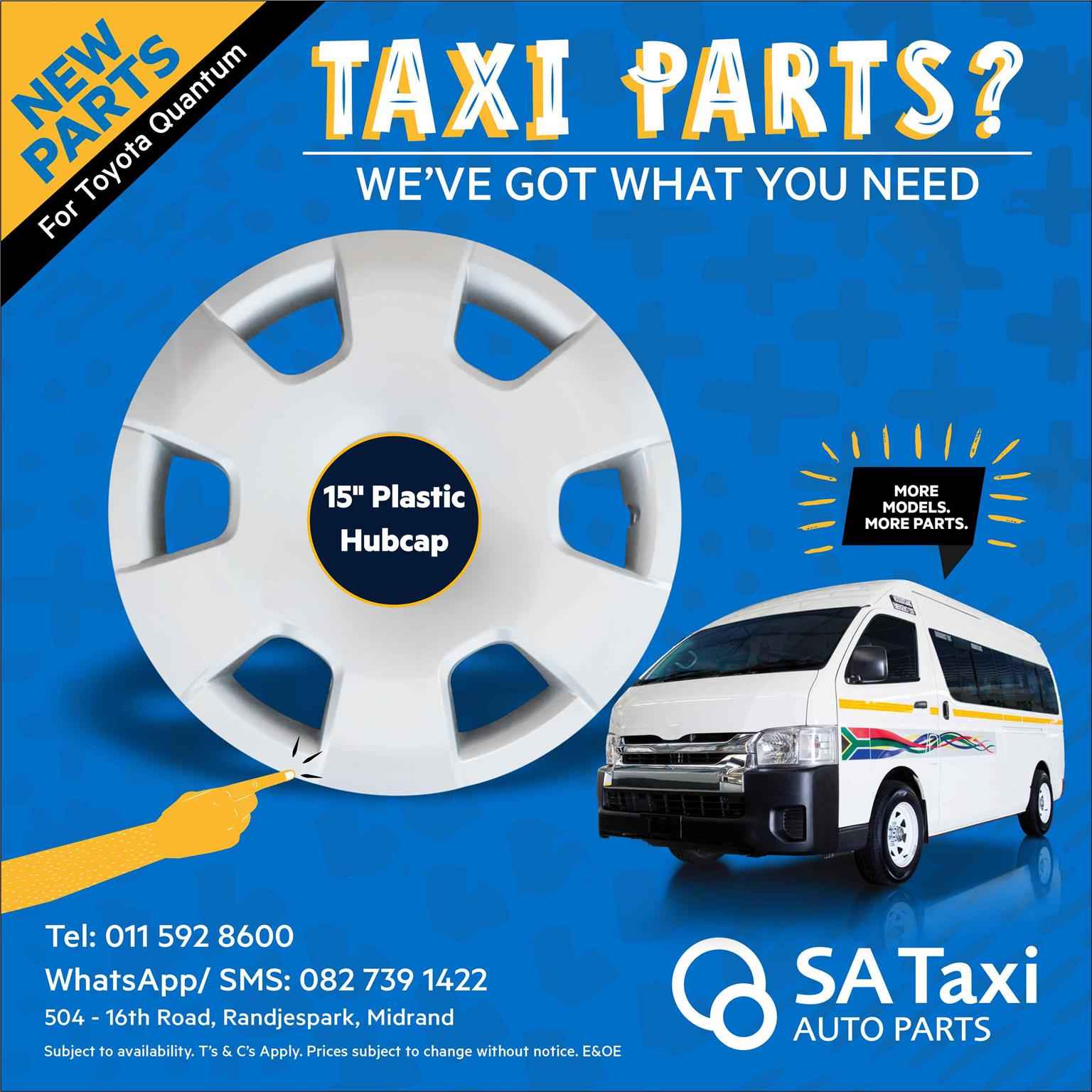"New 15"" plastic Hubcap suitable for Toyota Quantum -SA Taxi Auto Parts"