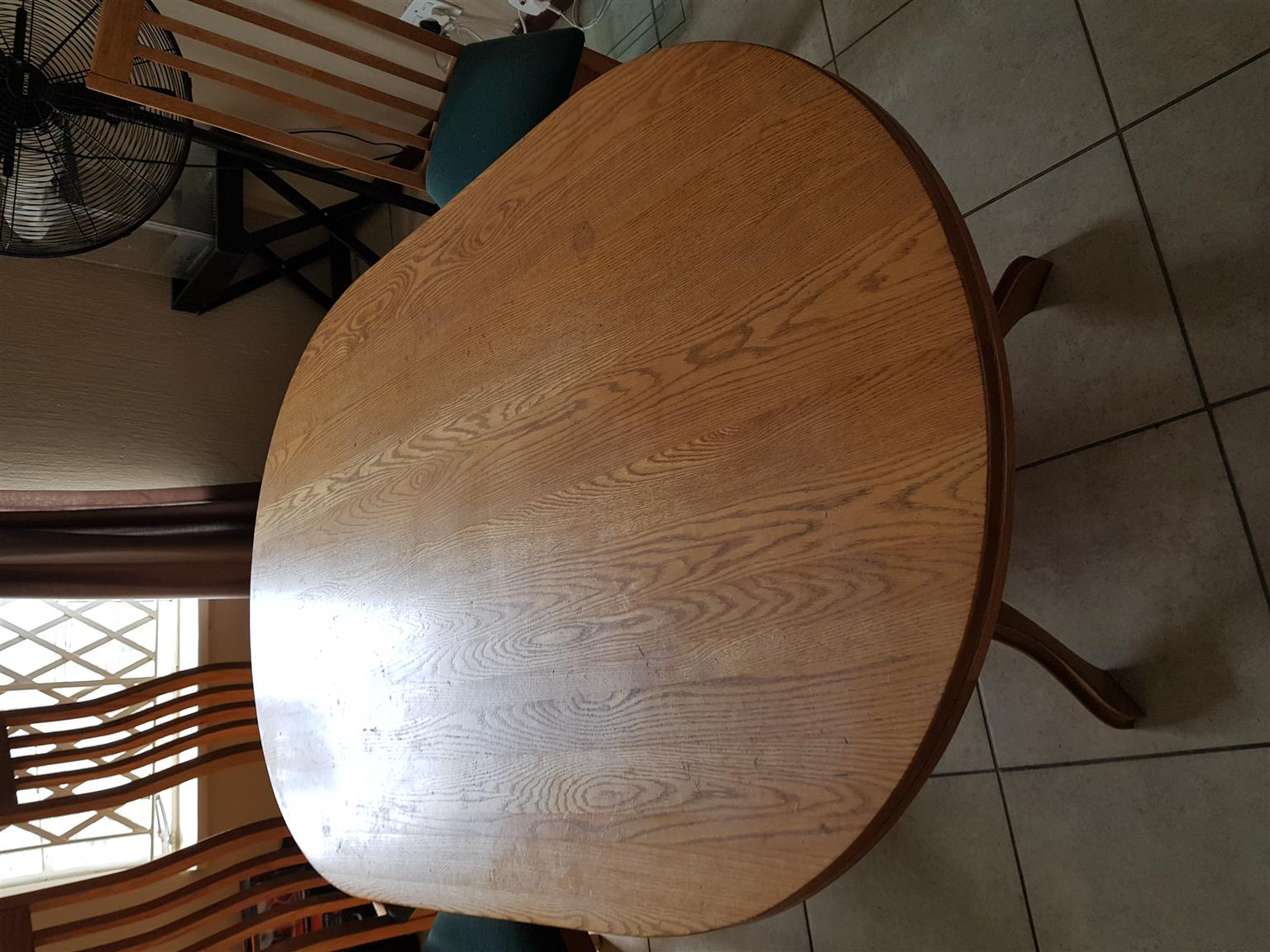 Oak dining set with 6 chairs