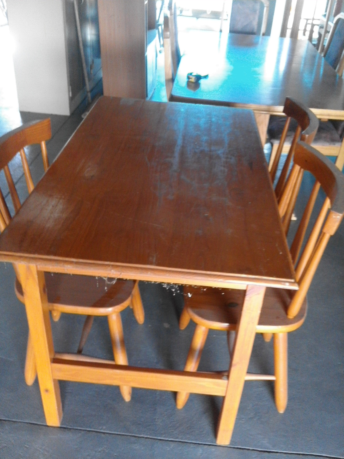 4 chairs and  oak varnished table