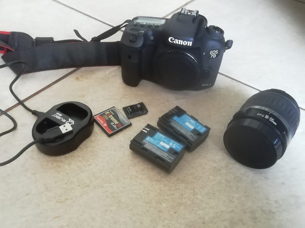 Canon 7d mark ii with 18 - 55 lens etc