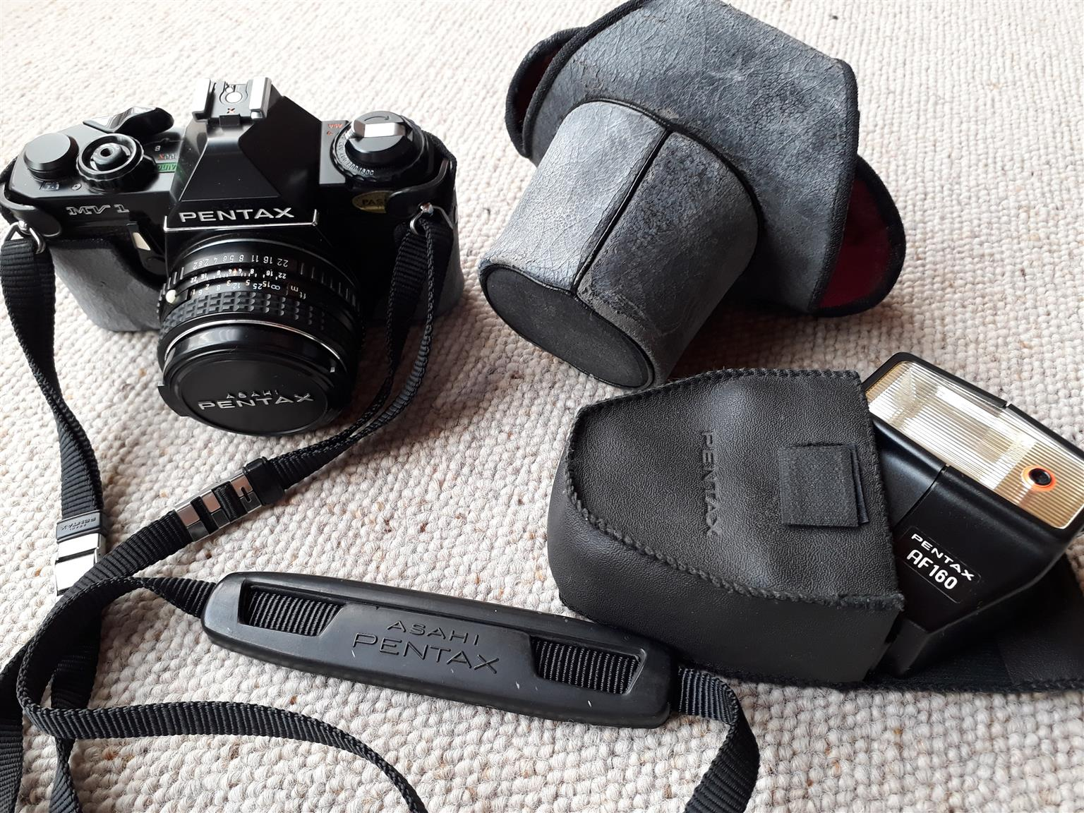 Pentax Asahi camera with flash and carry case