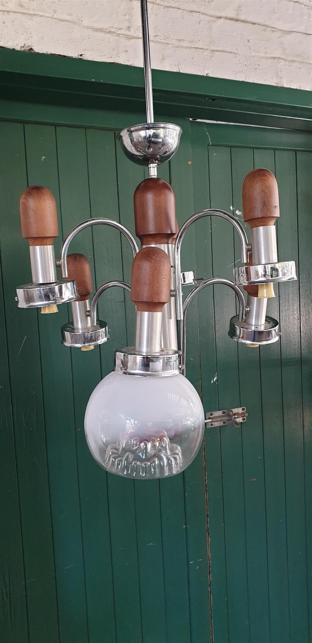 Chrome and Wooden Chandelier