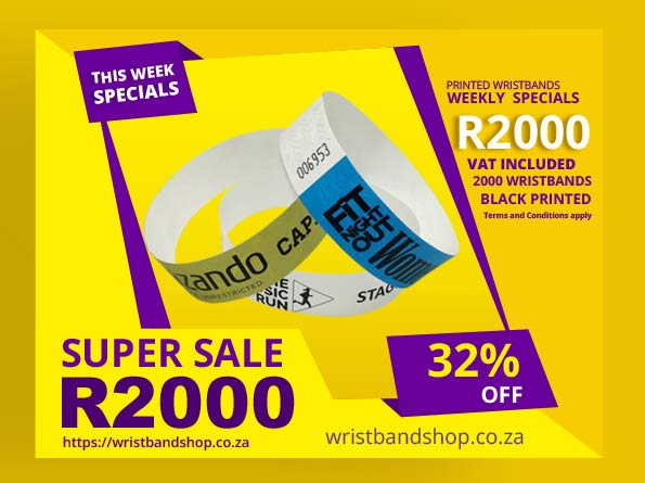 2000 Printed Tyvek Wristbands Specials