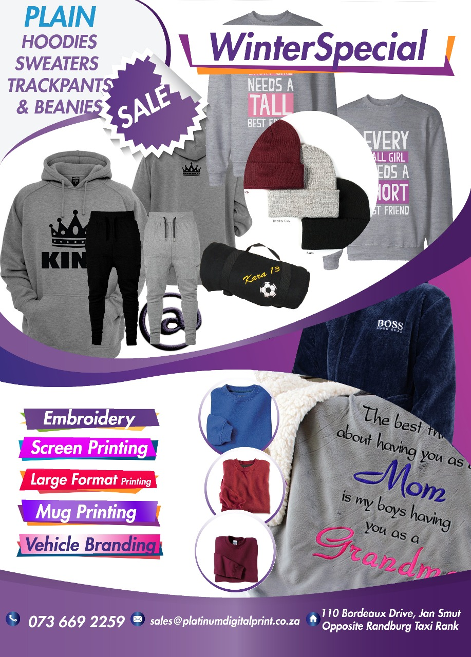 SAME DAY EMBROIDERY AND SCREEN PRINTING CALL 0110762882 | Junk Mail