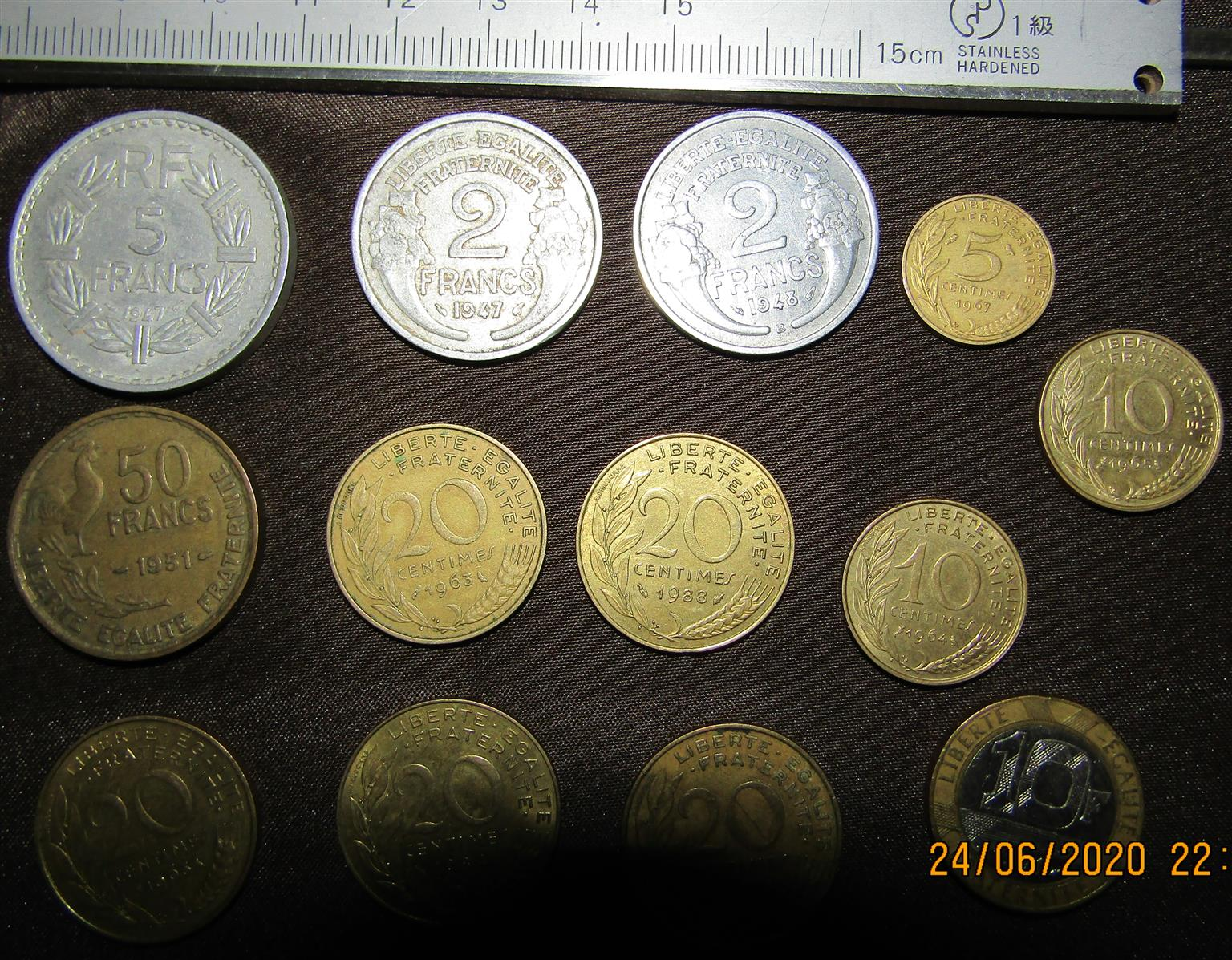 Assorted French Coins x 13