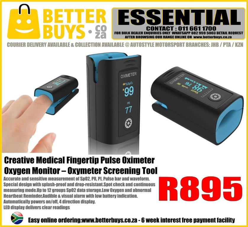 OXIMETER - Creative Medical Fingertip Pulse Oximeter FDA Approved – Oxygen Monitor –