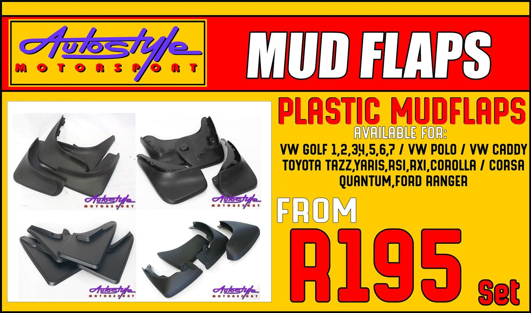 mudflaps set of 4 for most cars, stone guards, plastic and rubber, vw, golf, gti, caddy, ranger, etc