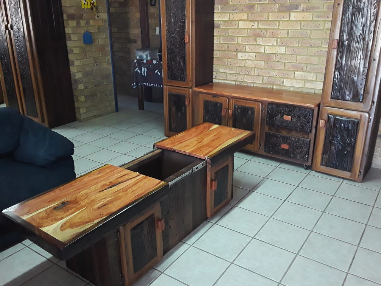 Coffee table with bar