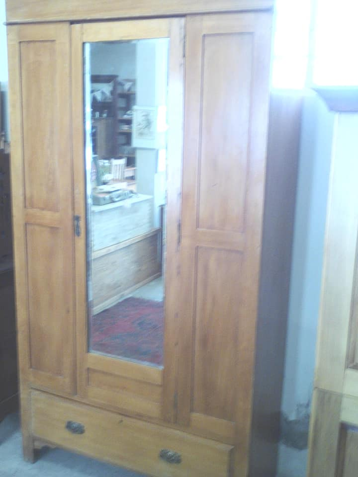 2 Door wooden closet with drawer and mirror