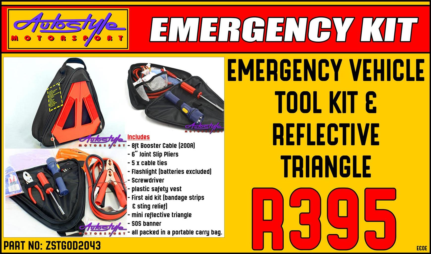 Emergency Vehicle Tool Kit and Reflective Triangle  includes - 8ft Booster Cable 200Amp - 6 inch Joint Slip Pliers - 5 x cable ties -