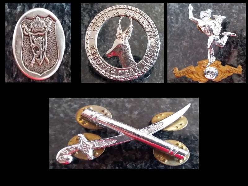 Old South African Army and other badges for sale