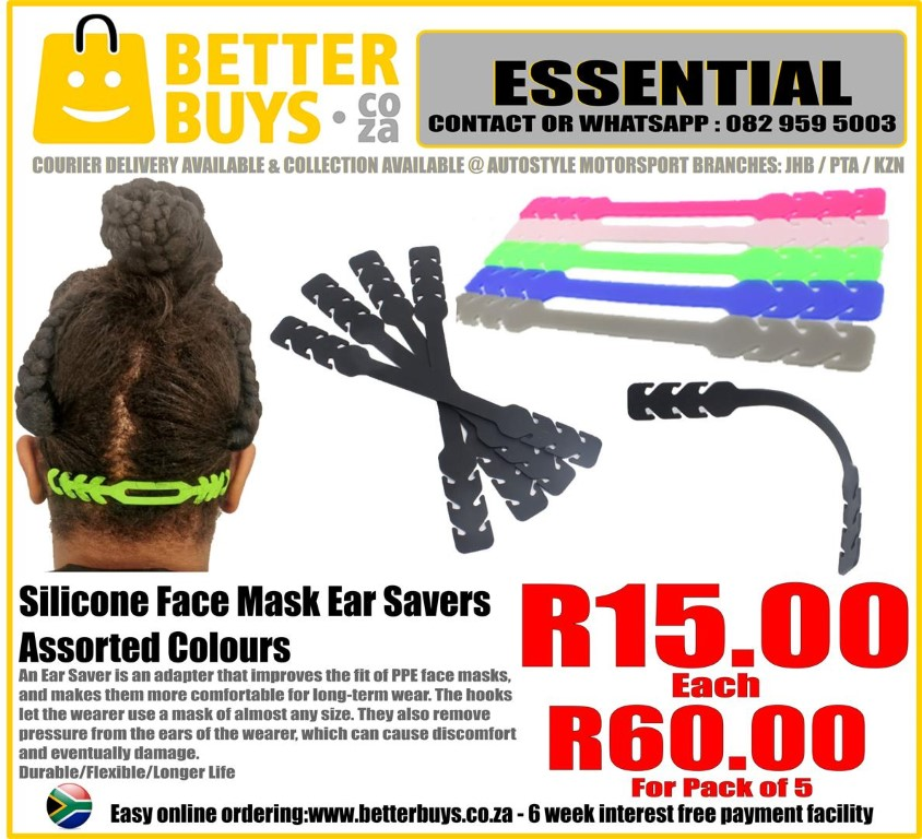 Silicone Face Mask Ear Savers Assorted Colours Hygienic