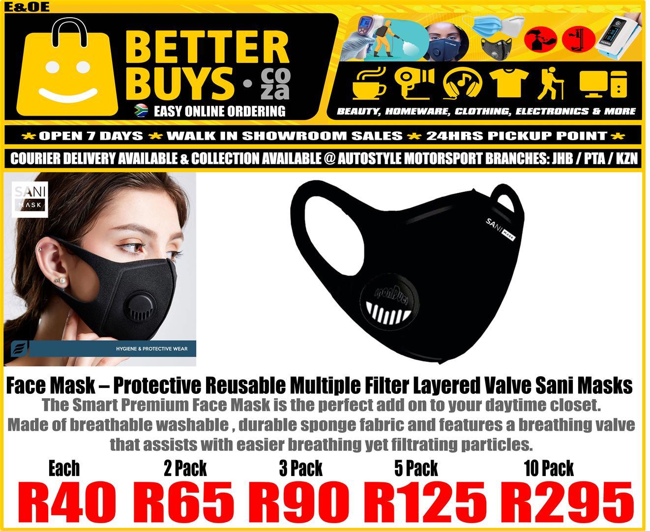 Face Mask – Protective Reusable Multiple Filter Layered Valve Sani Masks  Each -