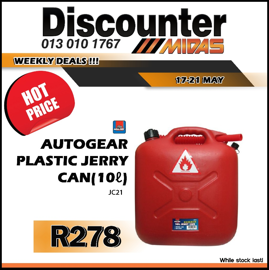 AutoGear Plastic Jerry Can 10L ONLY R278 at Discounter Midas!
