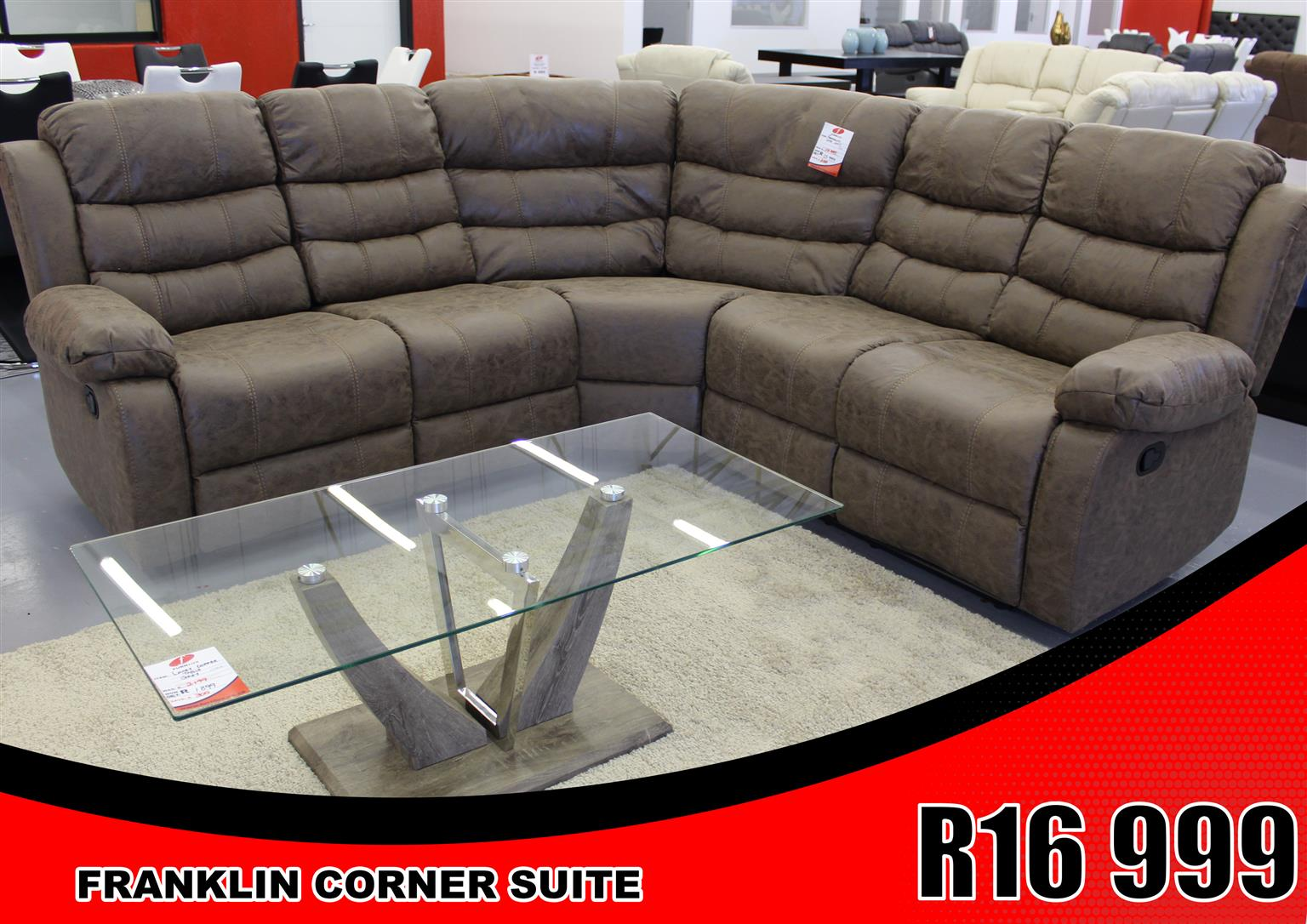 CORNER SUITE BRAND NEW FRANKLIN CORNER COUCH FOR ONLY R 16 999!!!!!!!!!!!!!!!!!!!