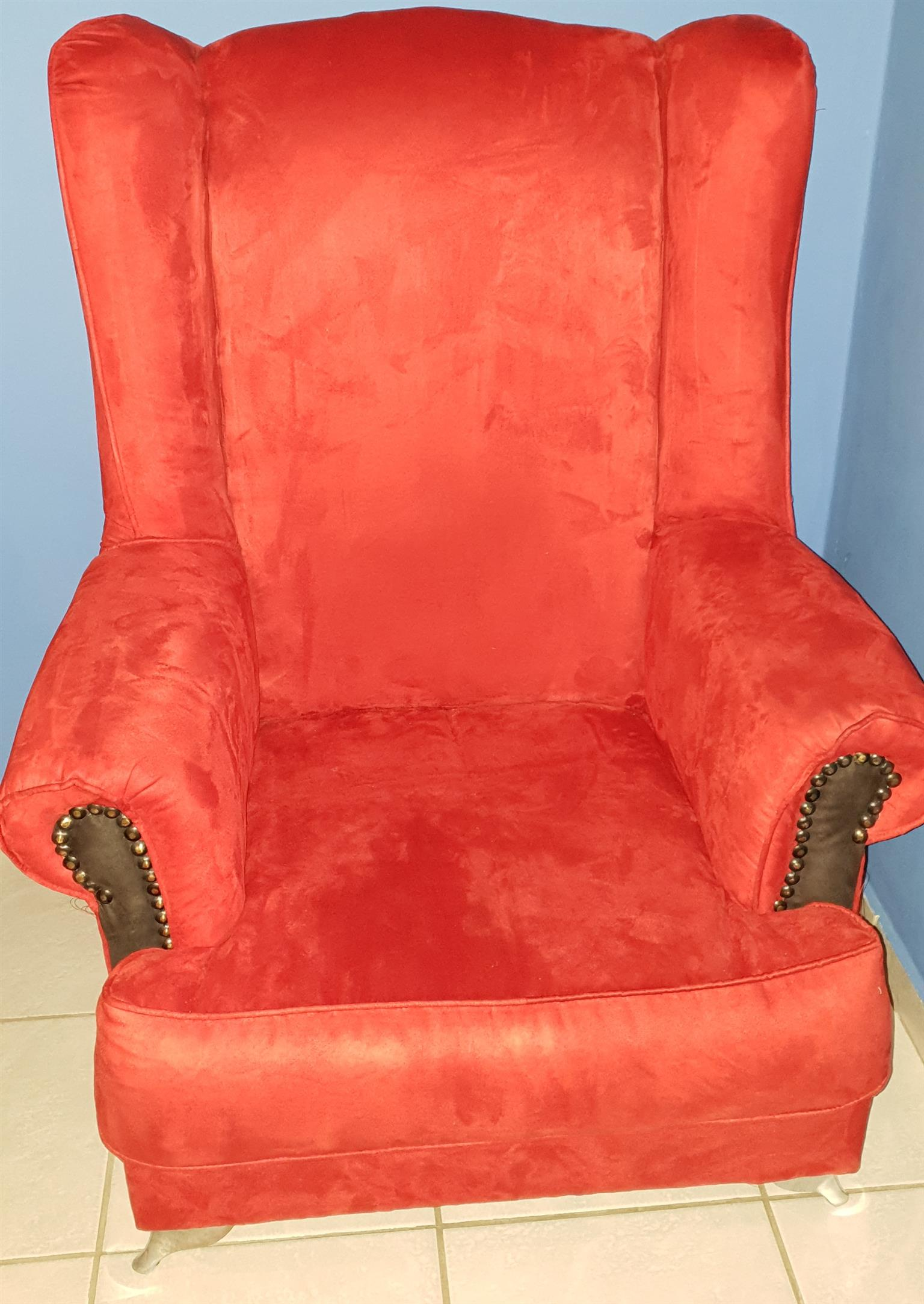 Red Velvet Wing Back Chair