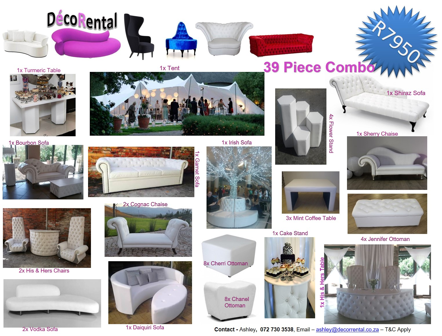 39 Piece Wedding Combo to suit all your needs.