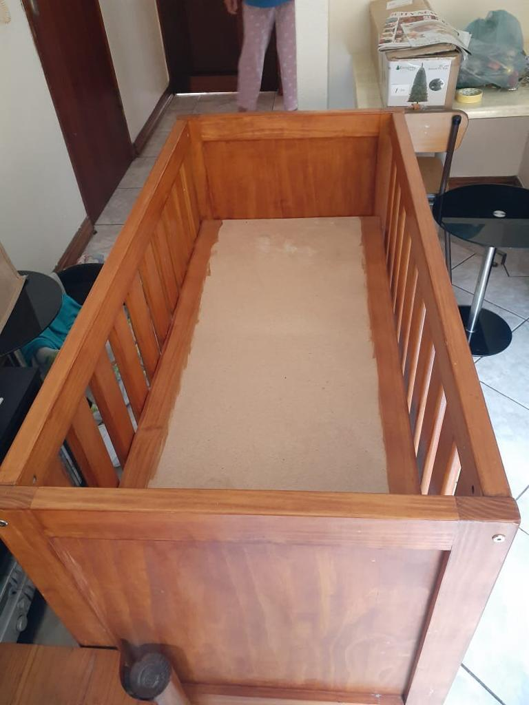 Origan pine wooden baby cot and changing station with angel care monitor