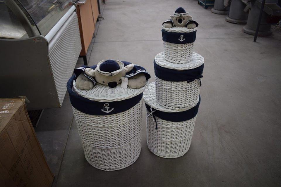 Blue teddy laundry basket set
