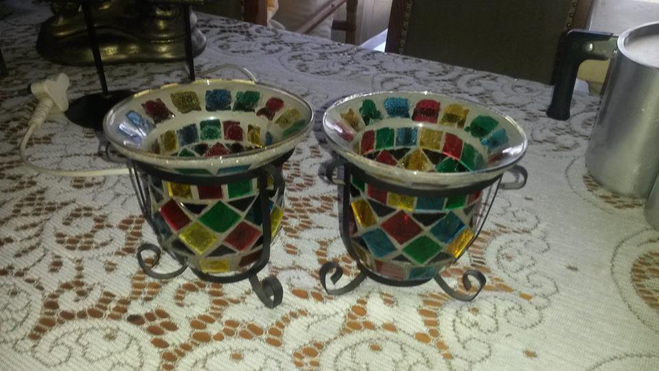 Colored mosaic decor vases
