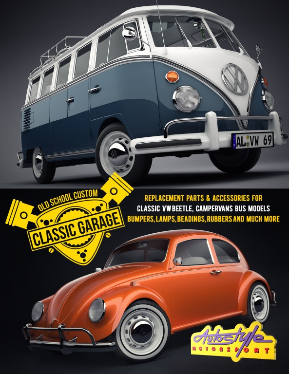 Replacement parts & accessories for classic VW Beetle, campervan bus  models, Bumper lamps, beadings, rubbers and much more parts can fit  onKarmann,