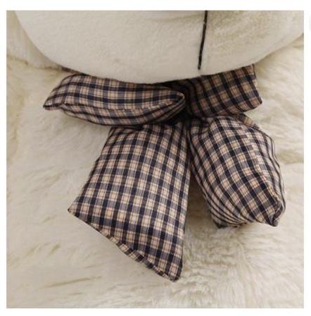 Giant Cuddly Plush Teddy Bear with Bow - Tie, Ivory White, 160cm