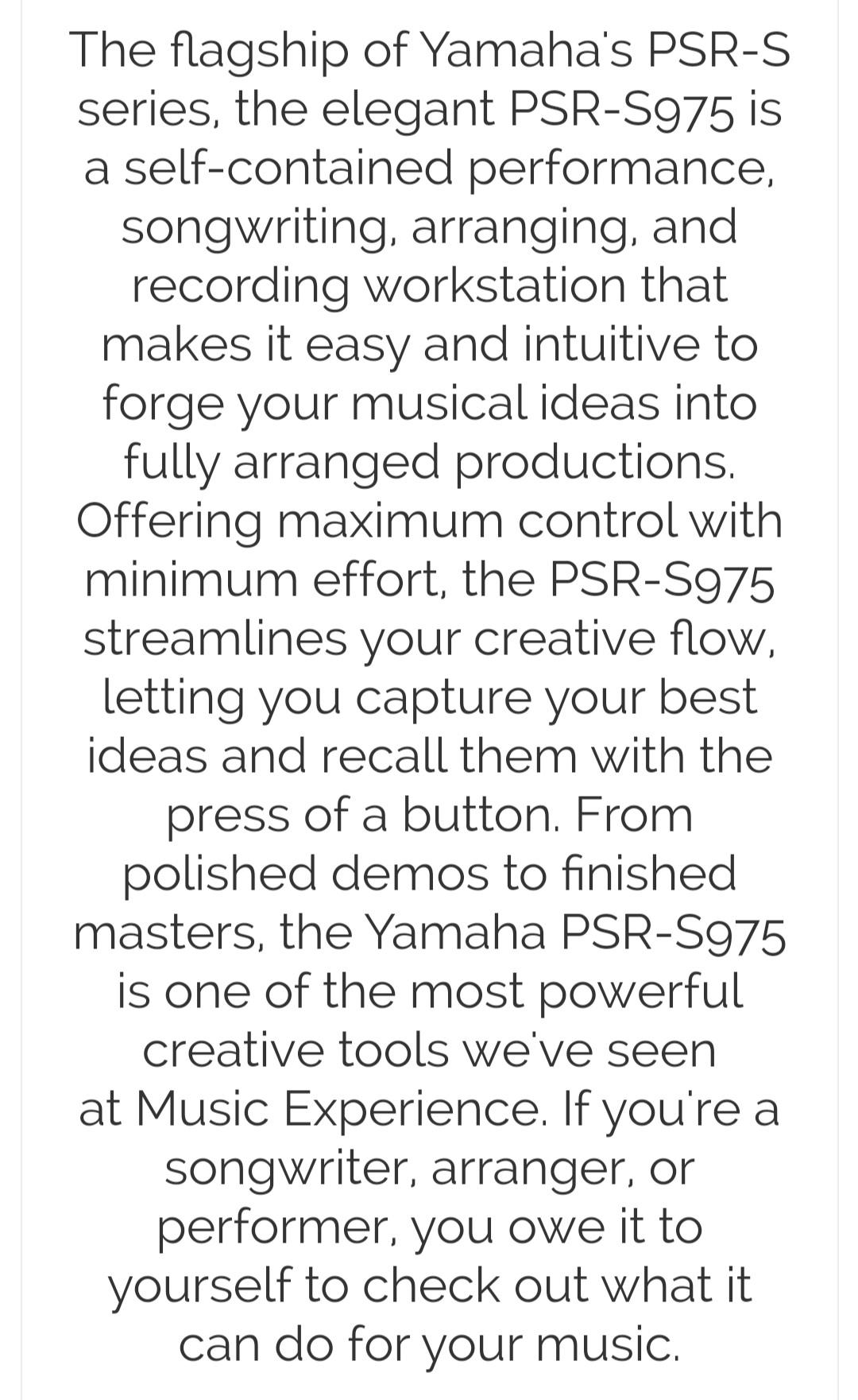 YAMAHA PSR-S975 Professional 61-key  Arranger Keyboard The Flagship of PSR-S ser
