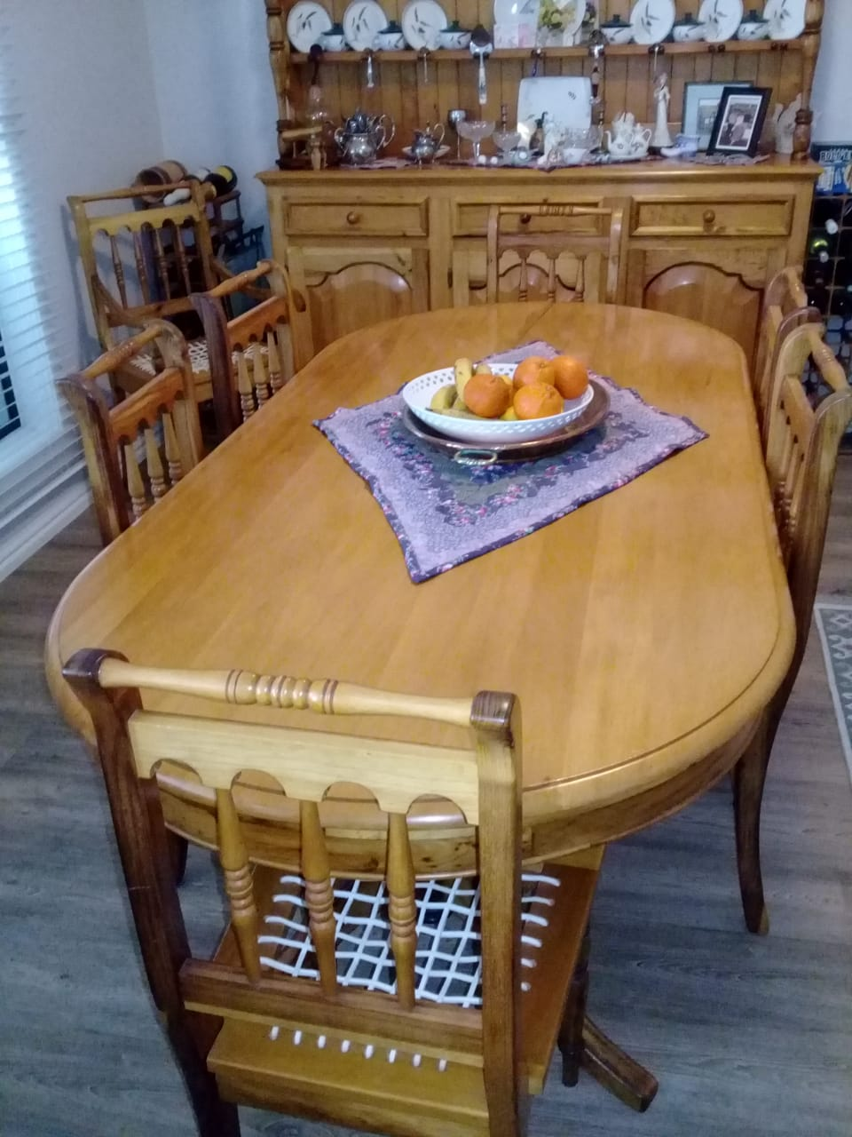 Yellow Wood Dining Room Table And Welsh Dresser