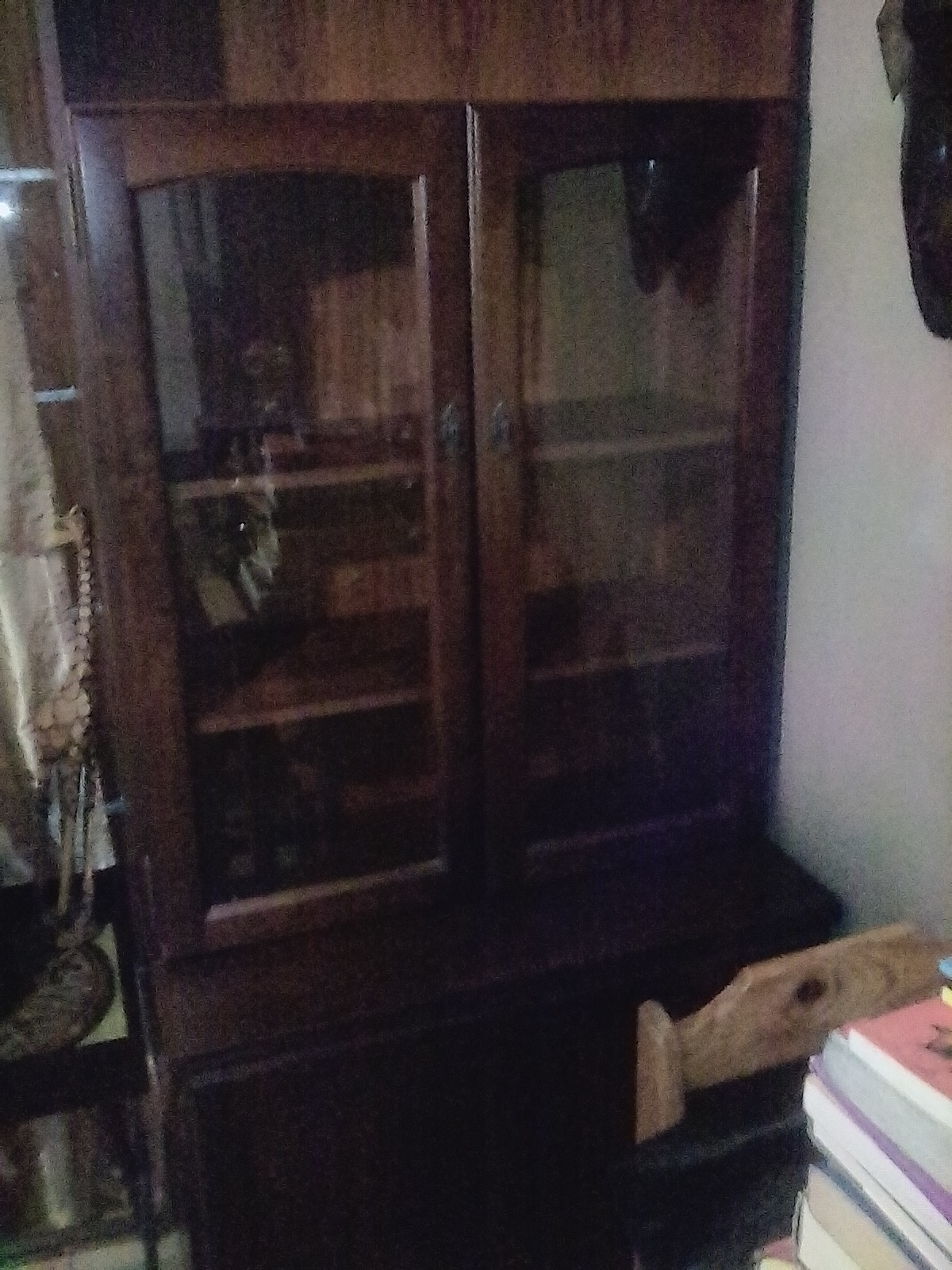 2 Dark Wood Display Cabinets In Peak Condition For R850