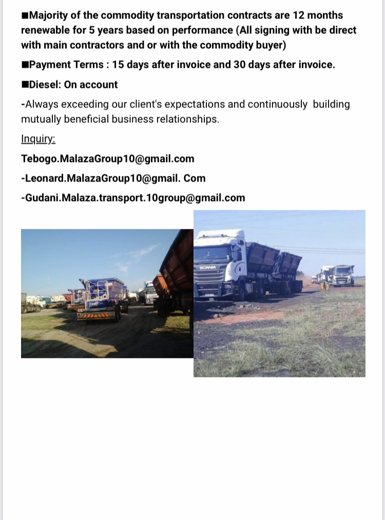 Commodity transportation routes for 34 ton side tippers please mail all enquires