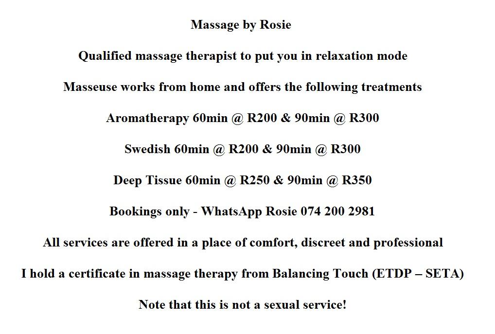 Massage By Rosie Junk Mail