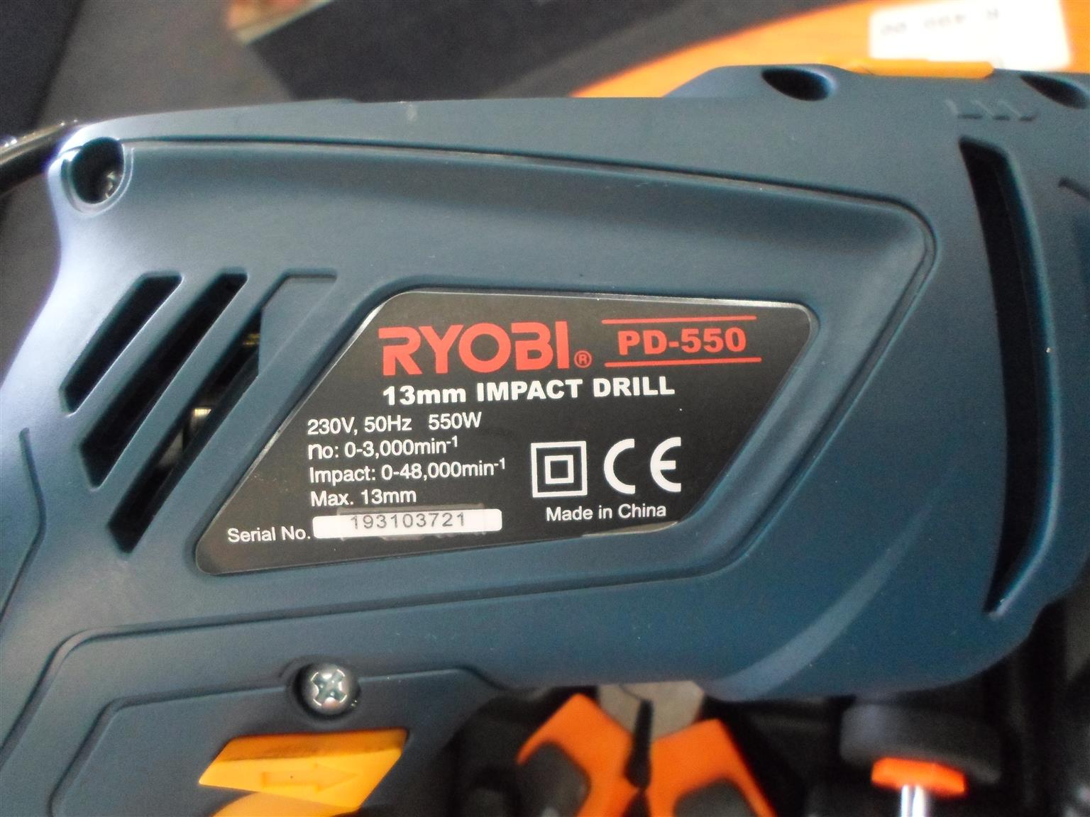 550W Ryobi PD-550 Drill + Accessories