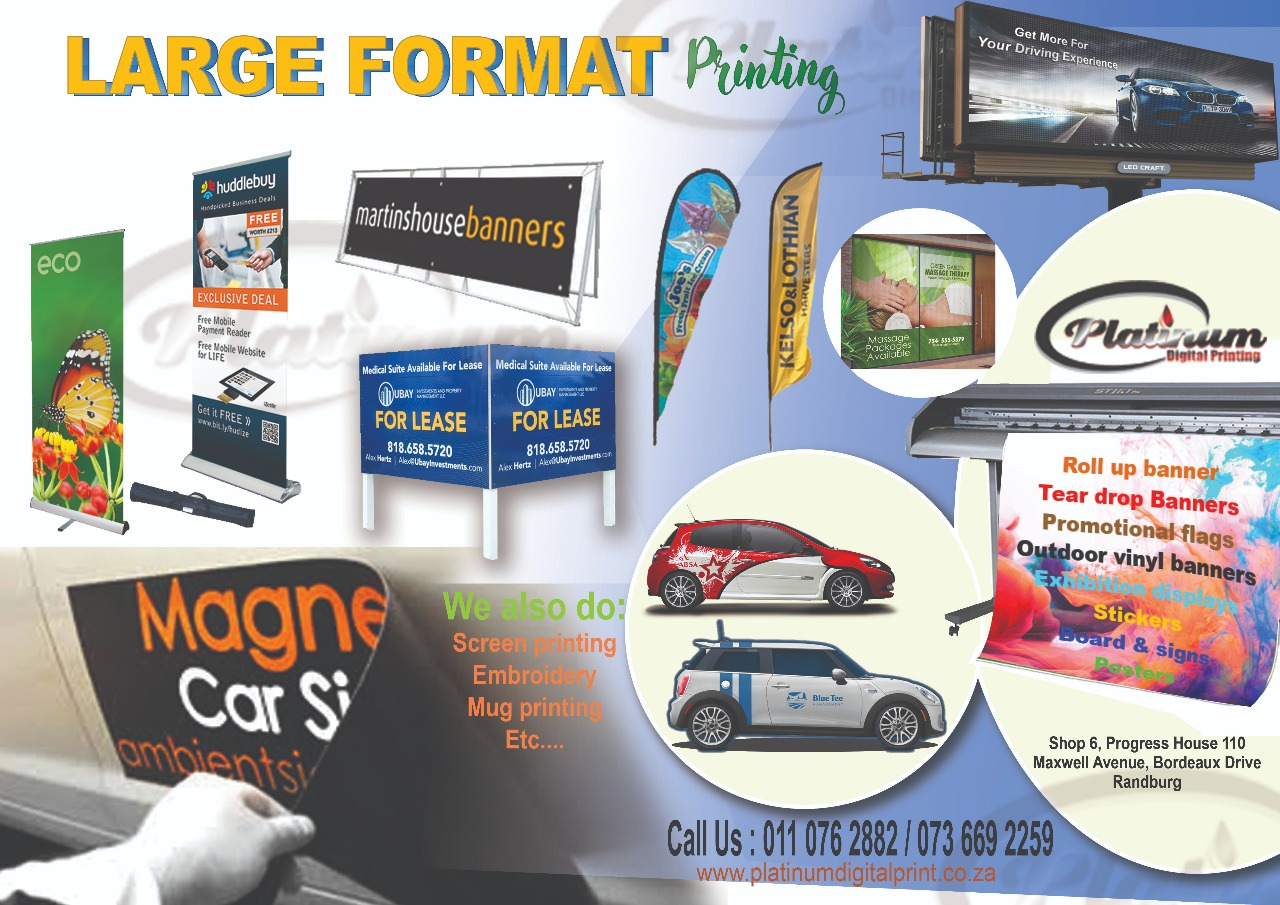 Banner, Poster,signage,  stickers, Car magnets  call 0110762882