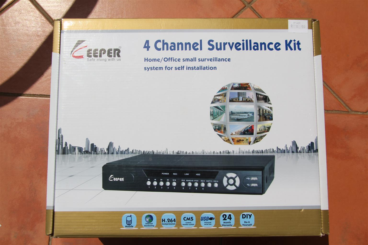 CCTV 4 camera kit Keeper with hard drive and acxcessories