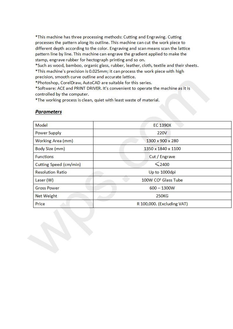 Laser Cutting & Engraving Machine EC 1390X