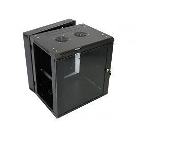 9U network cabinet / server rack.Black with glass door. Swingframe. Used. Empty. Fans etc available.