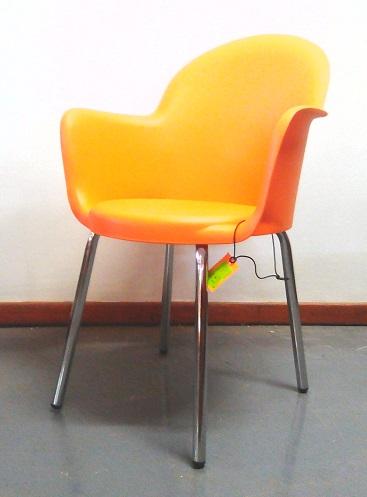 Moon canteen chair chrome leg orange
