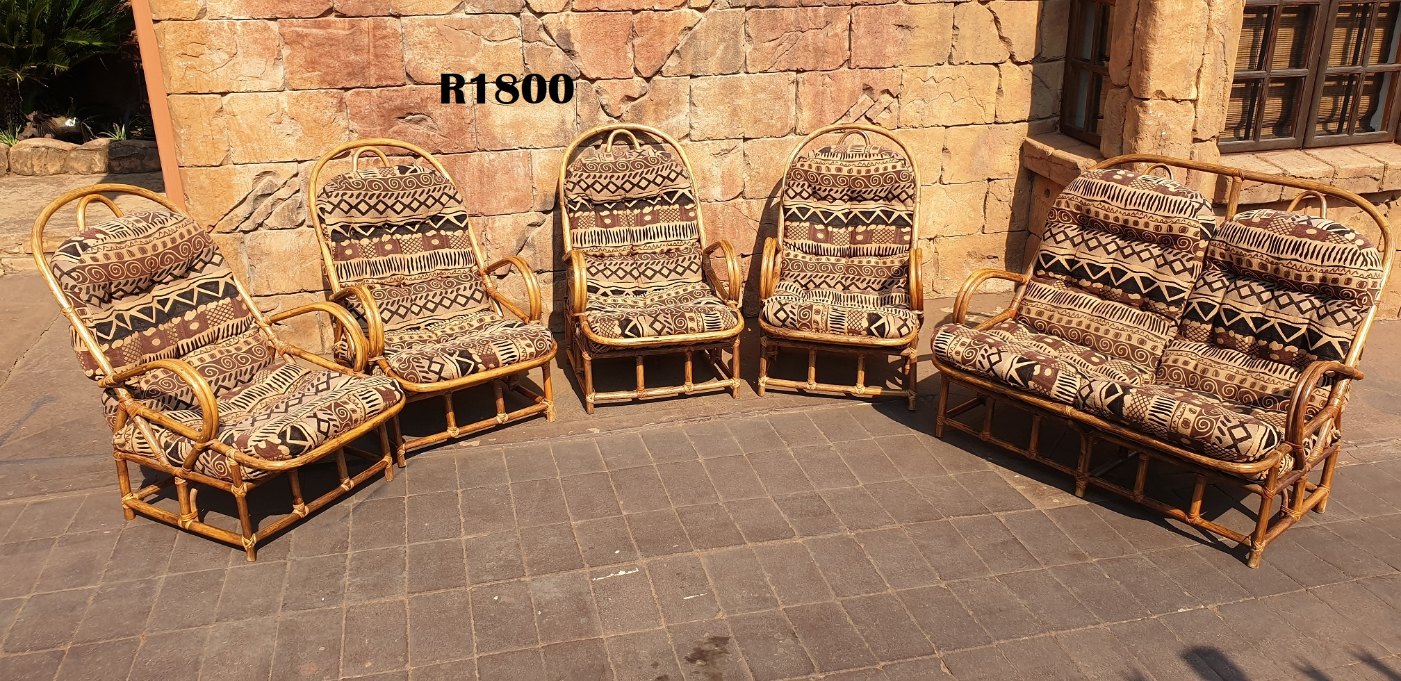6 Seater Cane Patio Lounge Suite with Round Coffee Table