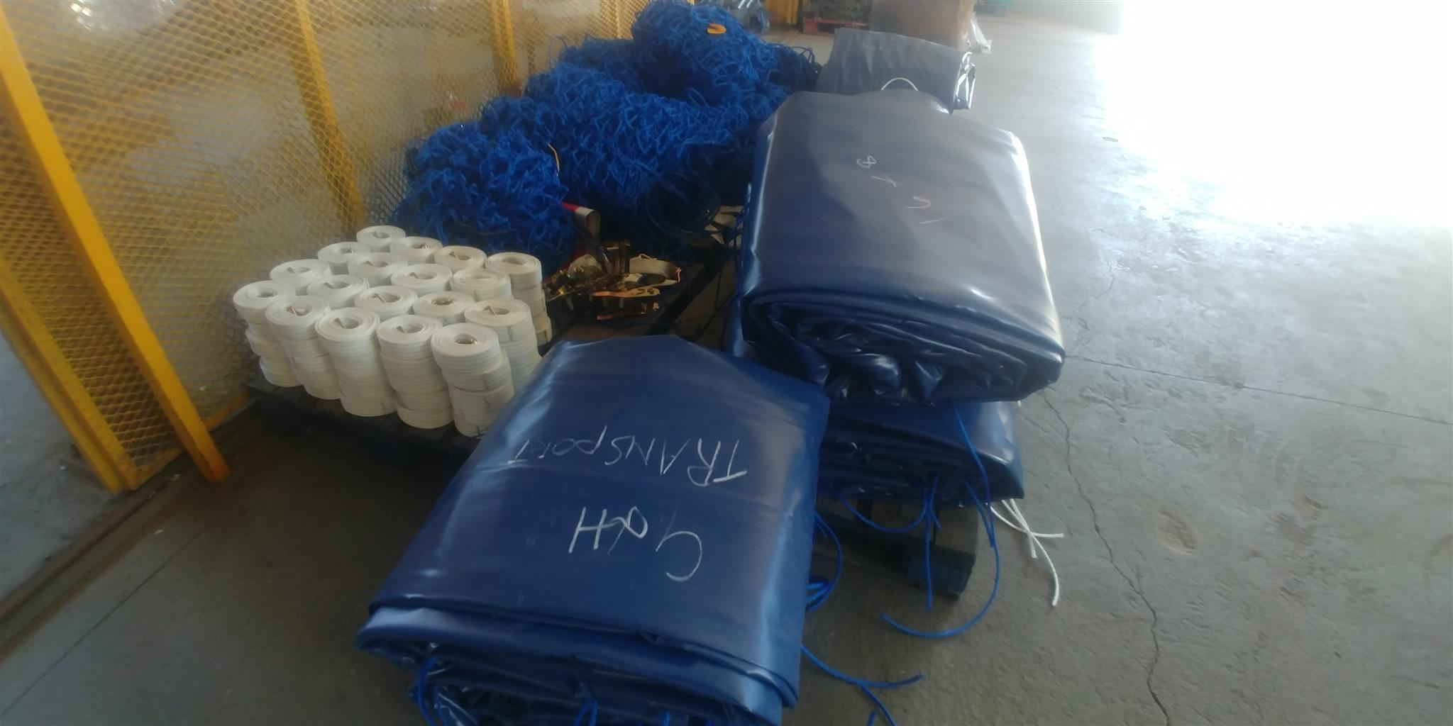Quality 9m x 9m truck pvc covers/tarpaulins and cargo nets