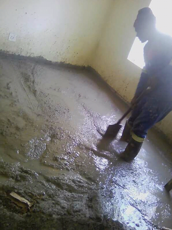 stripping of old wooden floors and replacing with concrete floors
