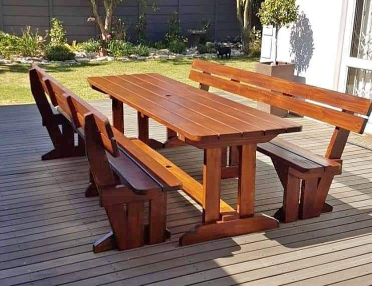 Masters in wooden benches, patio sets, chairs, bar stools, and tables