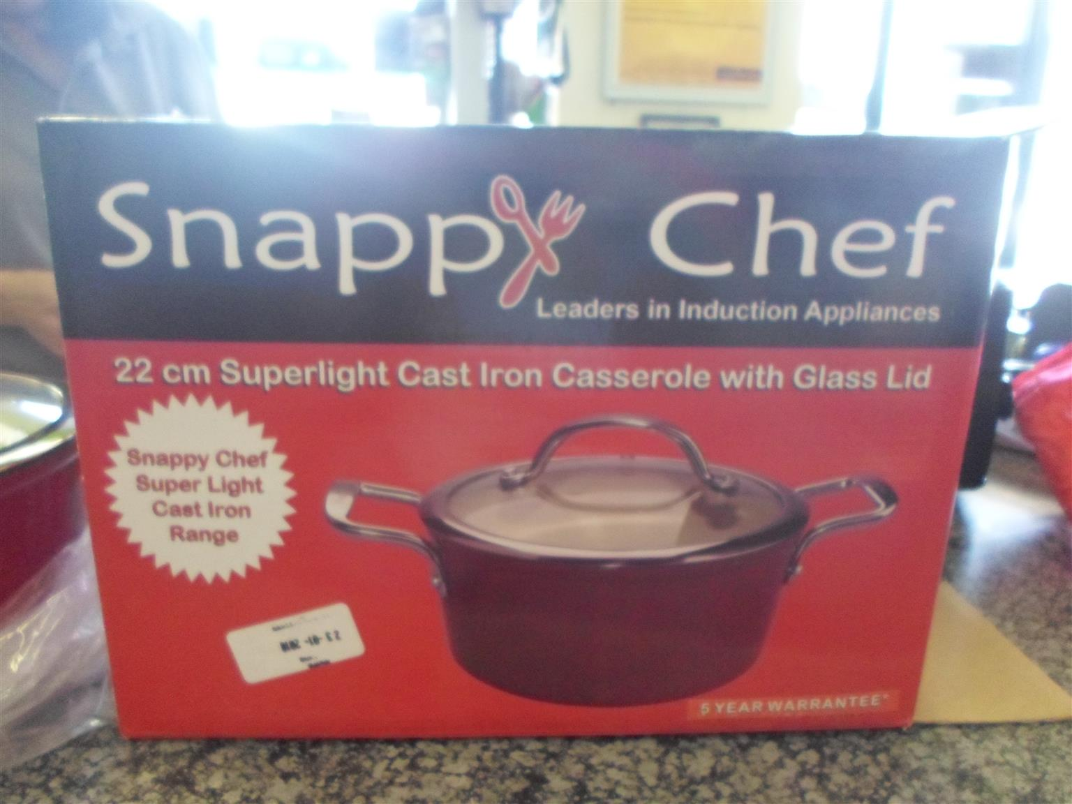 Snappy Chef 22cm Cast Iron Casserole with Lid