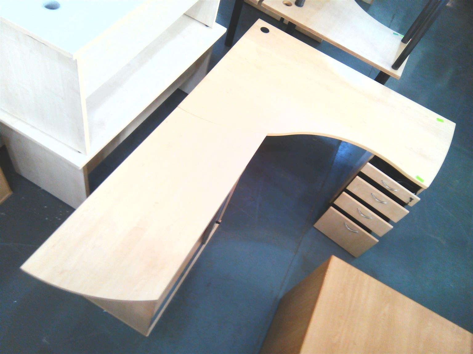 Maple L shape desk plus credenza and fitted pedestal