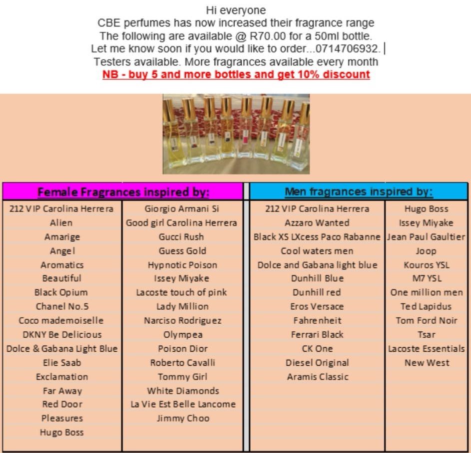 CBE Perfumes & lotions ( long lasting value for money fragrances)