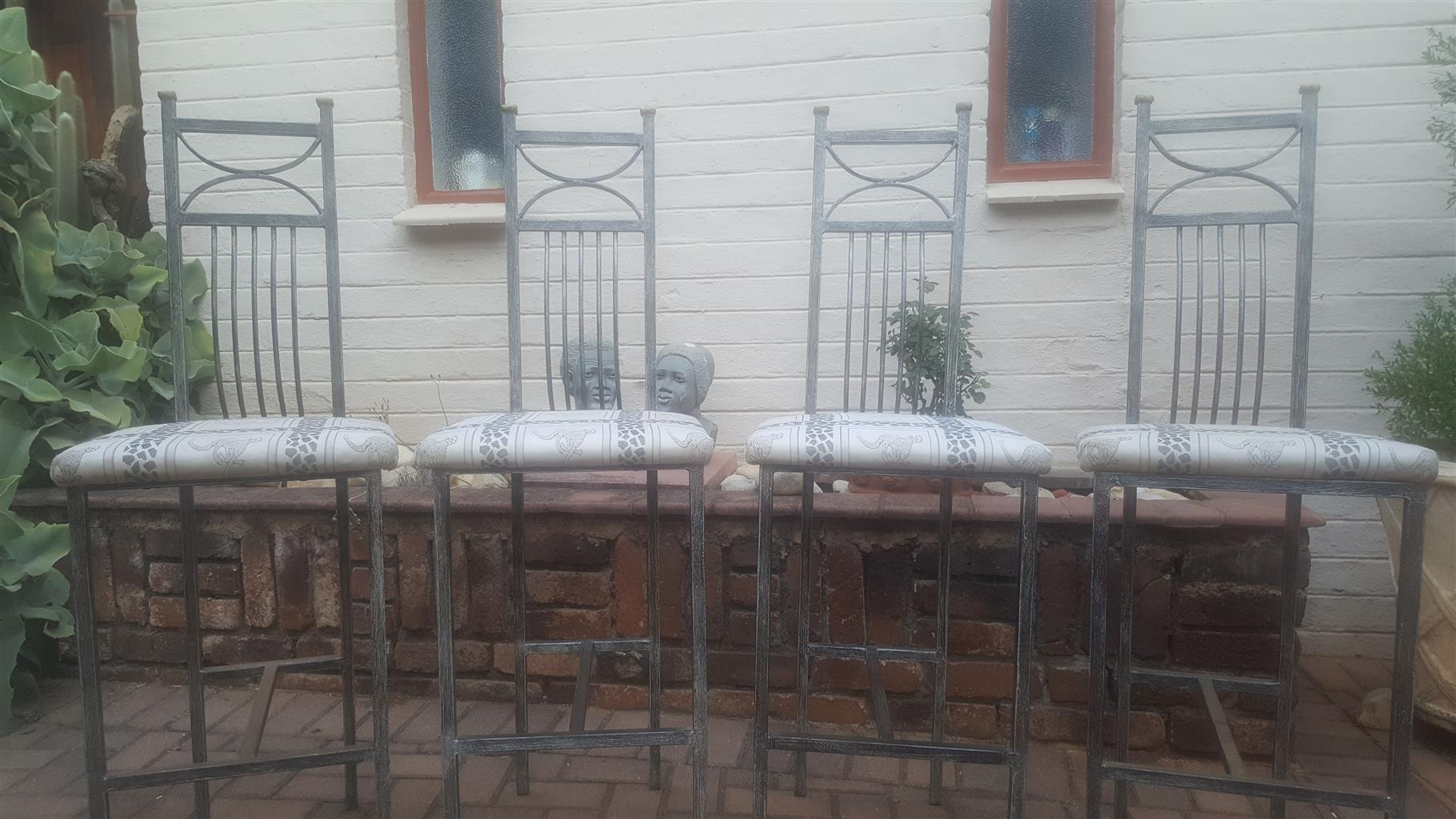 4 X BESPOKE METAL BAR STOOLS FOR SALE