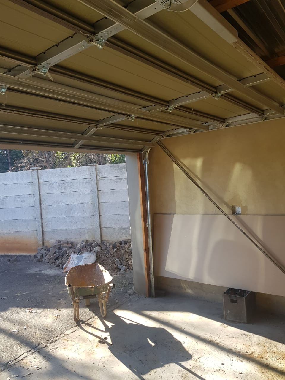 Garage door double with motor and battery backup