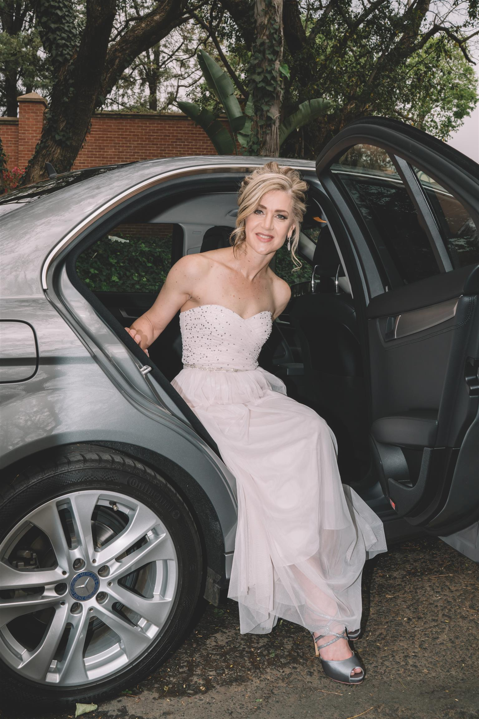 Wedding dress, sandals, handbag and earrings for sale