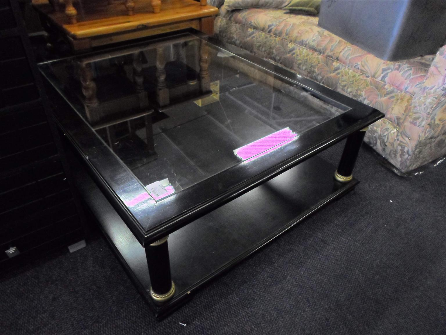 Wooden Coffee Table - Glass Top