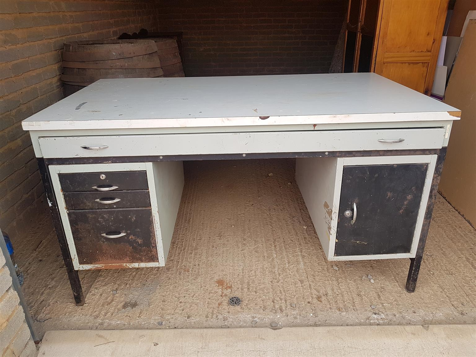 Large steel office table